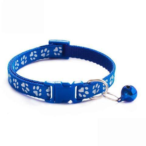 Adjustable Cute Paw Print Cat Collar With Bell Nylon Ribbon Neck Strap HahaGet